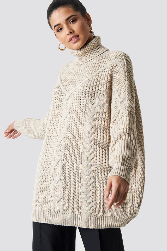 Tasseled Knitted Sweater Stone