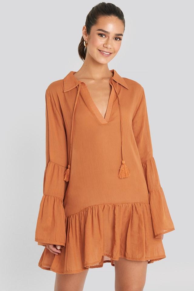 Tasseled Mini Dress Cinnamon