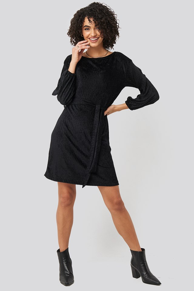 Textured Belted Mini Dress Black