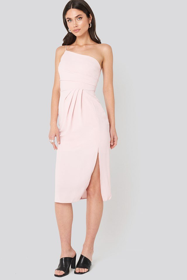 Thin Strap One Shoulder Midi Dress Pink