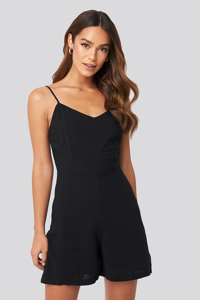 Thin Strap Playsuit Black