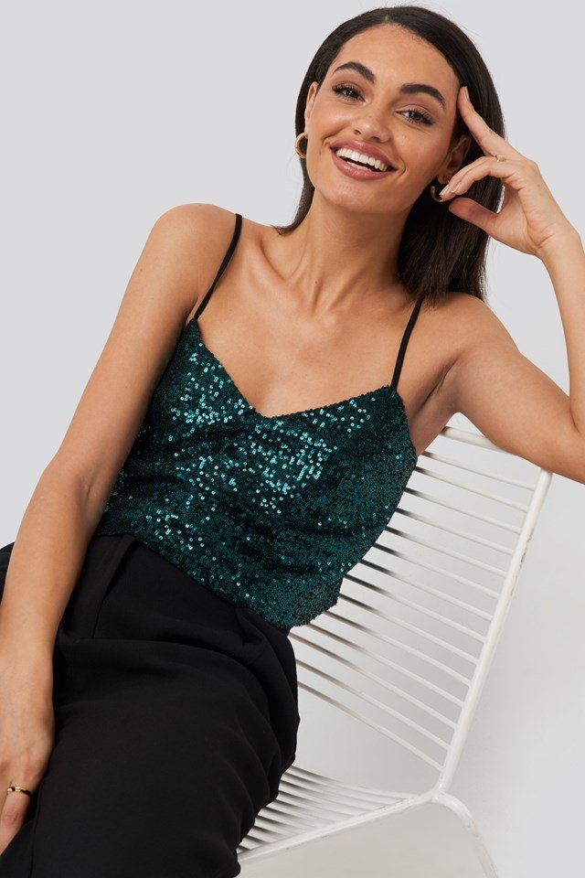 Thin Strap Sequin Top Green