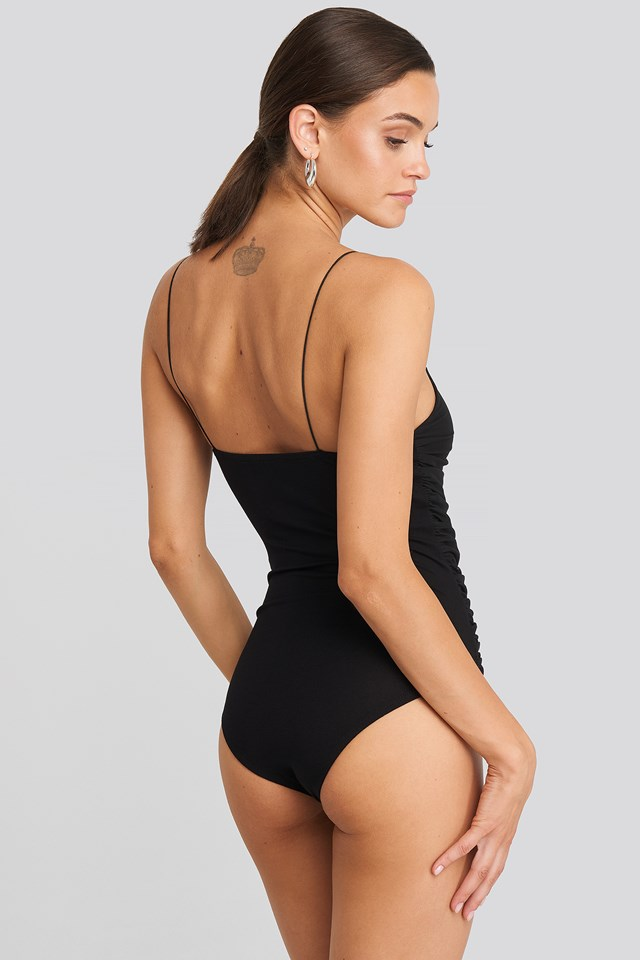 Thin Strap Shirred Body Black