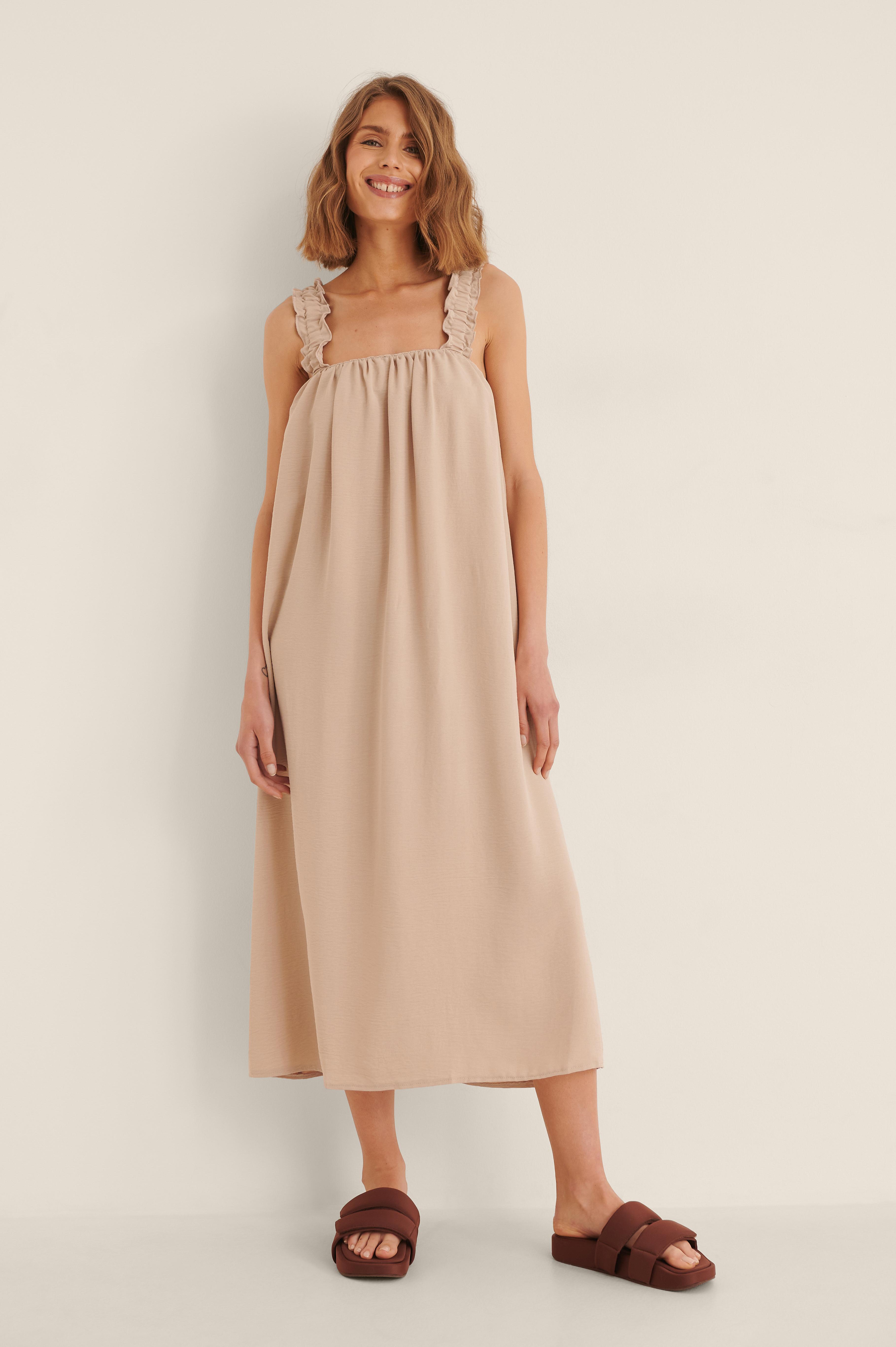 Trendyol Tie Detail Beach Dress - Beige