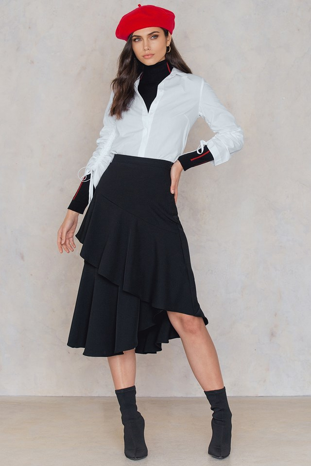 Tie Frill Sleeve Shirt White