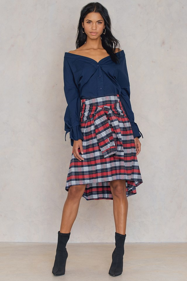 Tie Front Frill Skirt Red