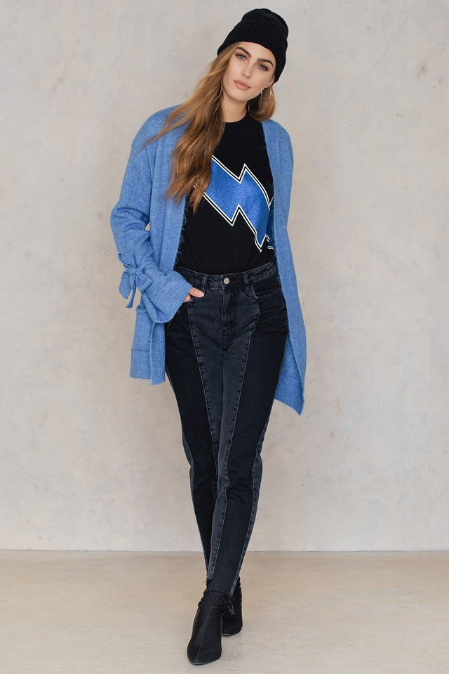 Tie Sleeve Front Pocket Cardigan Indigo