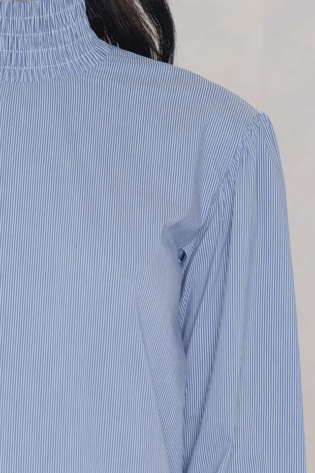 Tie Sleeve Smock Neck Blouse NA-KD.COM