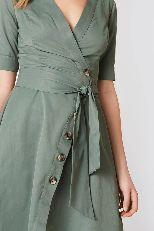 Tie Waist Buttoned Dress Khaki