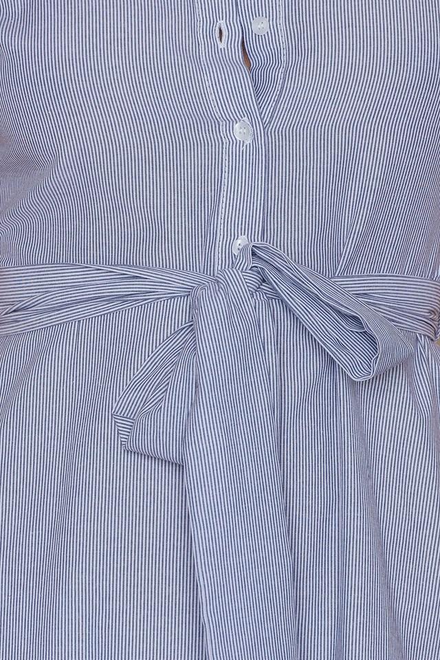 Tie Waist Shirt Dress Navy