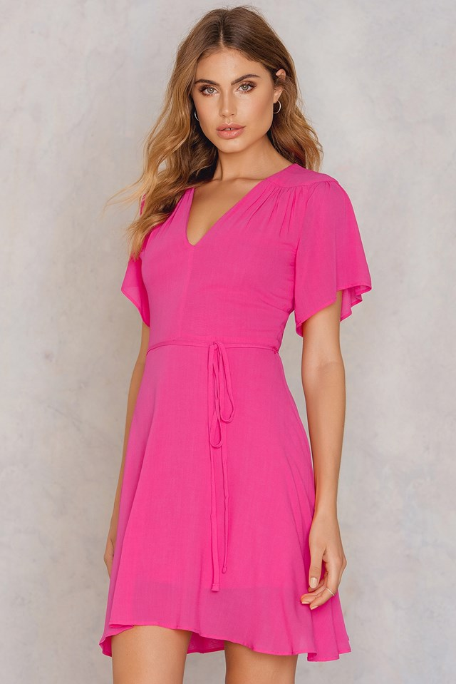 Tie Waist Skater Dress Pink