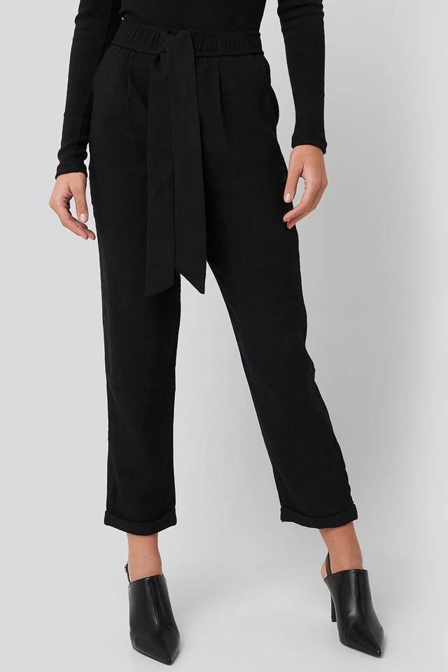 Tied Belt Elastic Pants Black