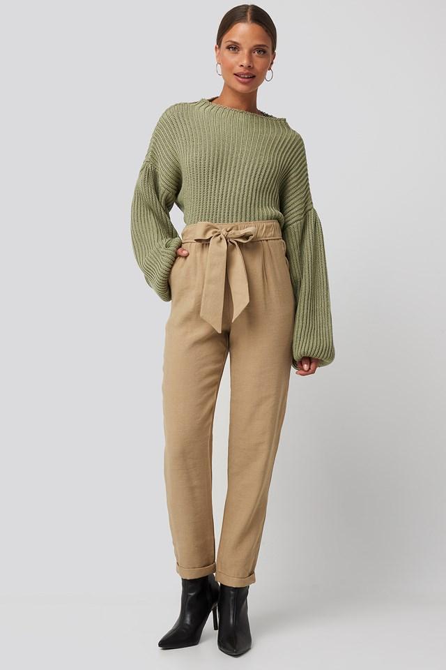 Tied Belt Elastic Pants Camel
