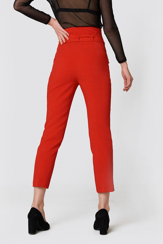 Tied Highwaist Suitpants Red
