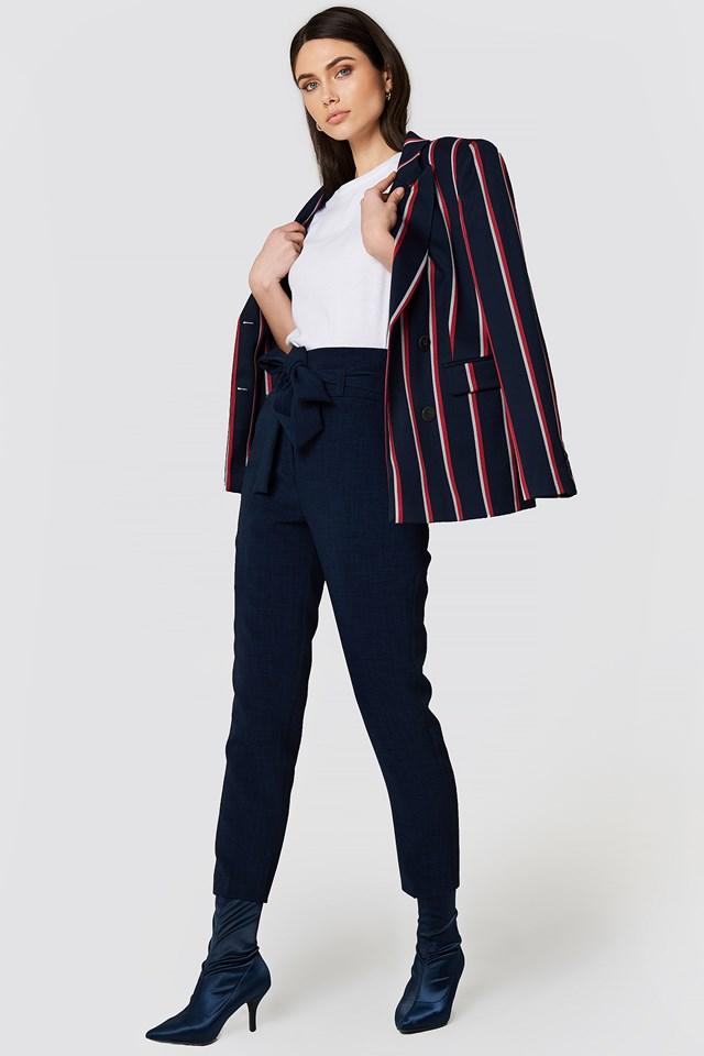 Tied Highwaist Suitpants Navy
