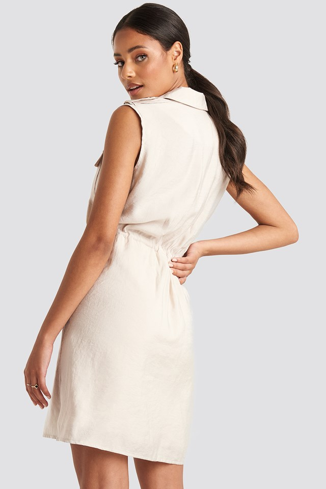 Tied Midi Dress Beige