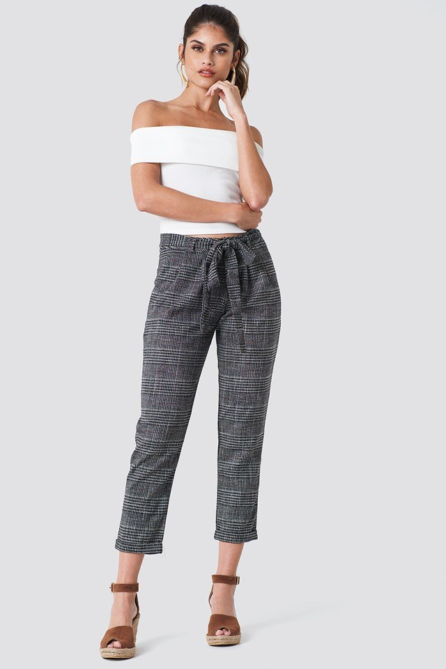 Tied Waist Checkered Pants Trendyol