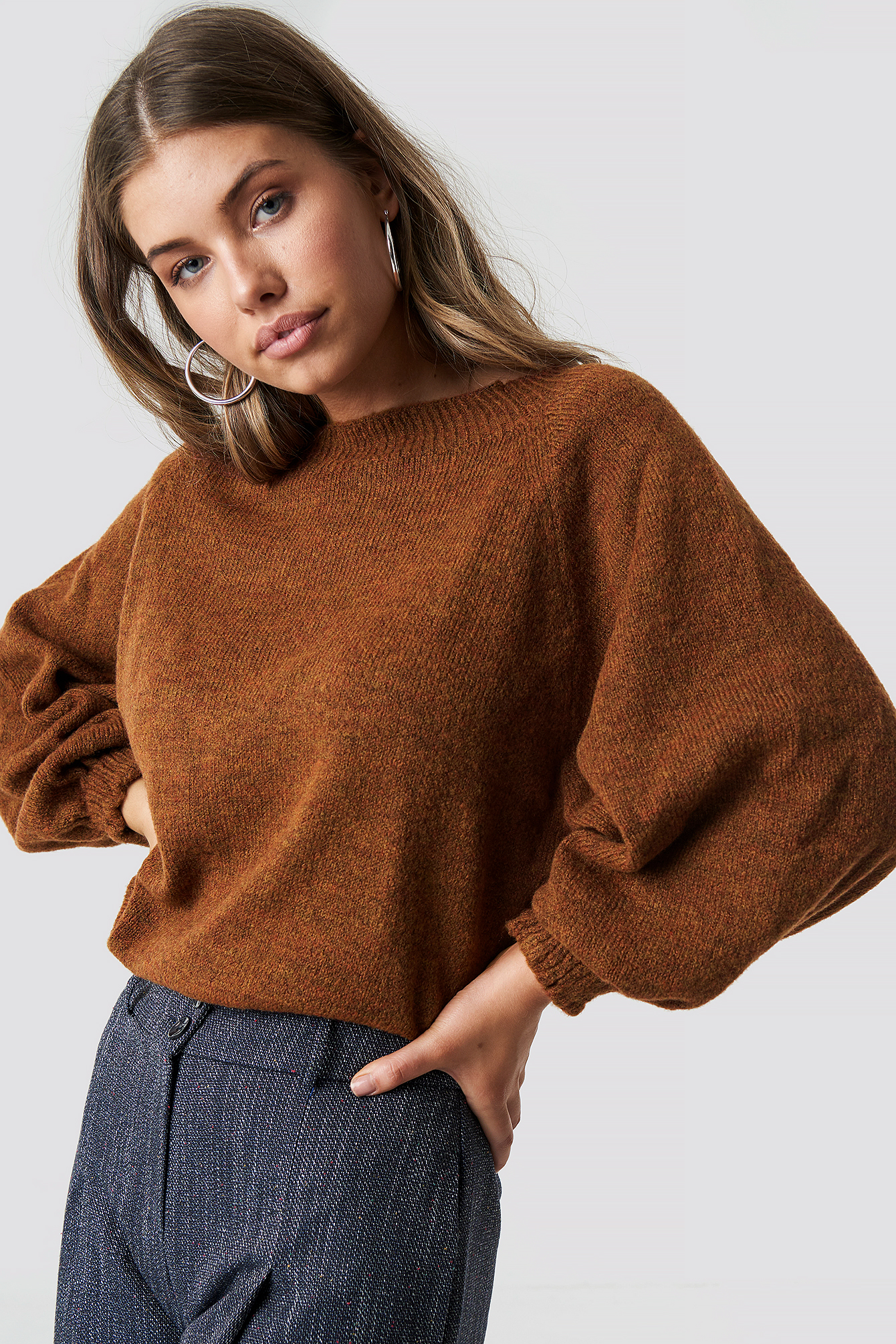 trendyol -  Tile Balloon Sleeve Sweater - Brown