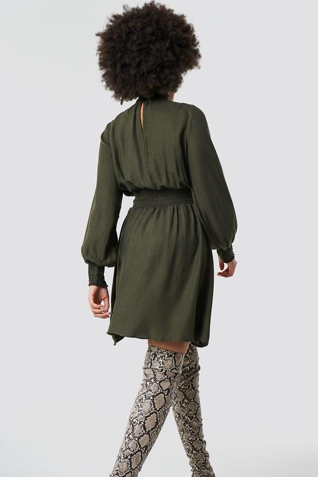 Tile Giped Dress Khaki