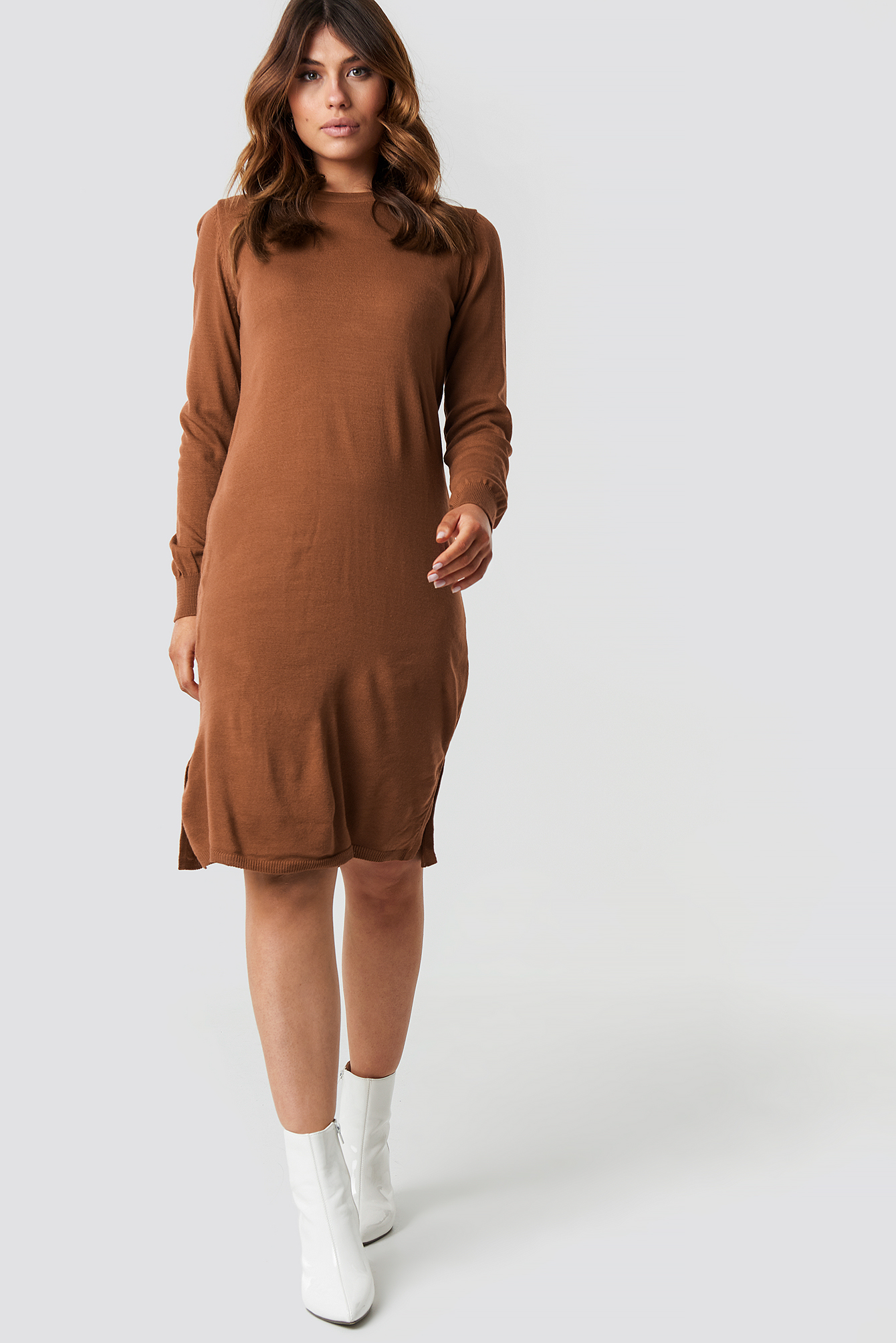 Tile Round Neck Midi Dress NA-KD.COM