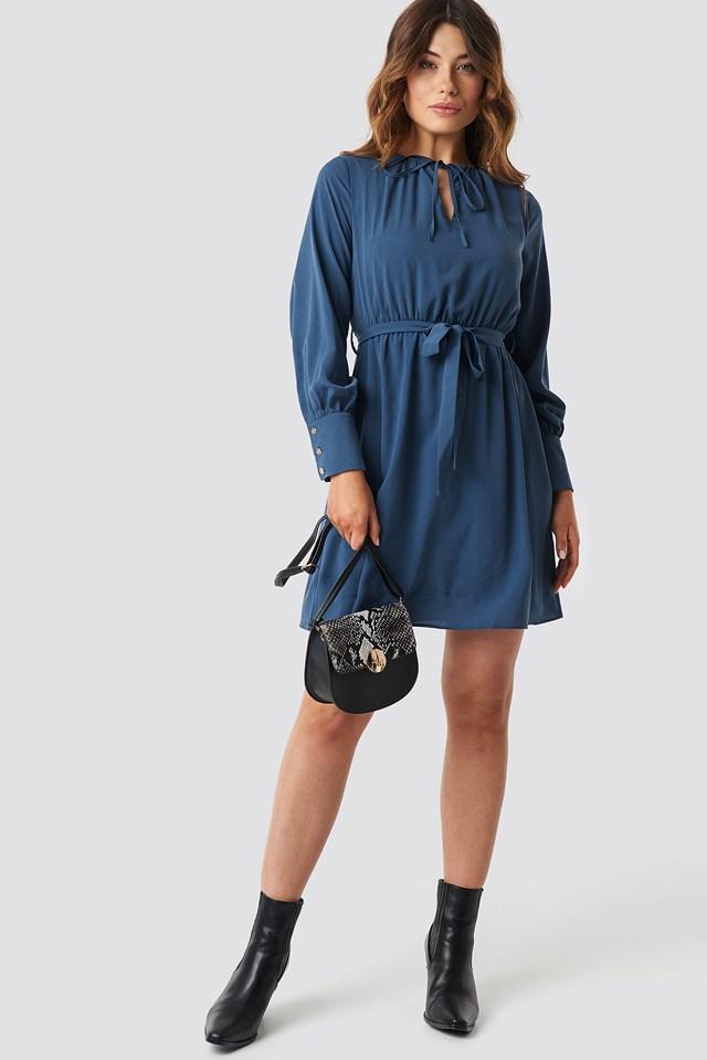 Tile Waist Ruffled Dress NA-KD.COM
