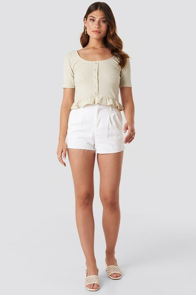 Tip Frilly Blouse Stone