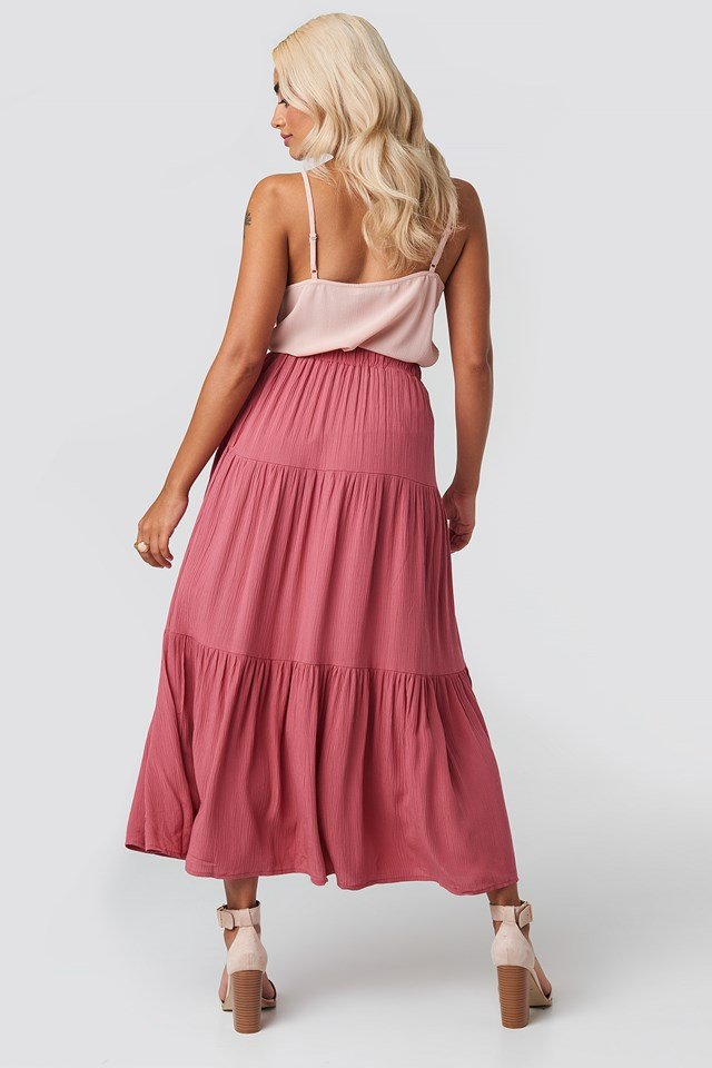 Tire Detailed Skirt Pink
