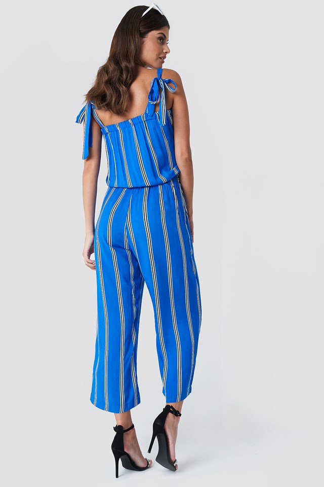 Tie Shoulder Strap Jumpsuit Blue