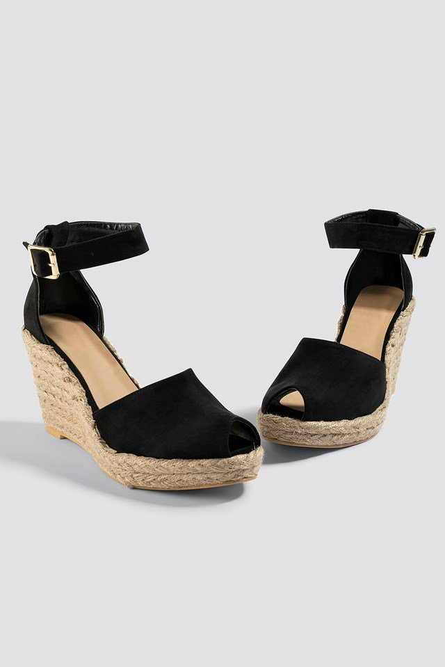 Open Toe Wedge Heel Black