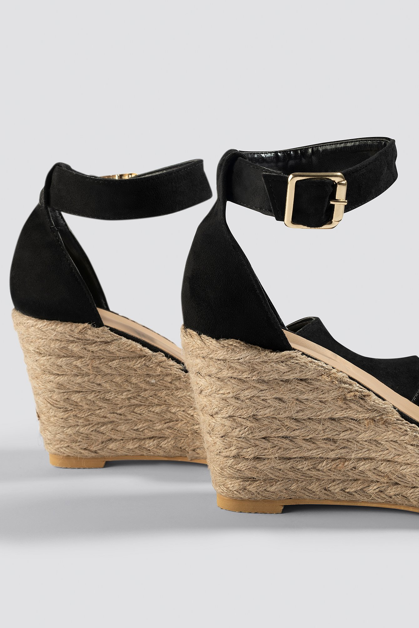 Black Open Toe Wedge Heel