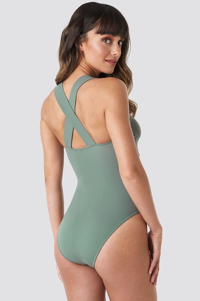 Triangle Detailed Swimsuit Khaki