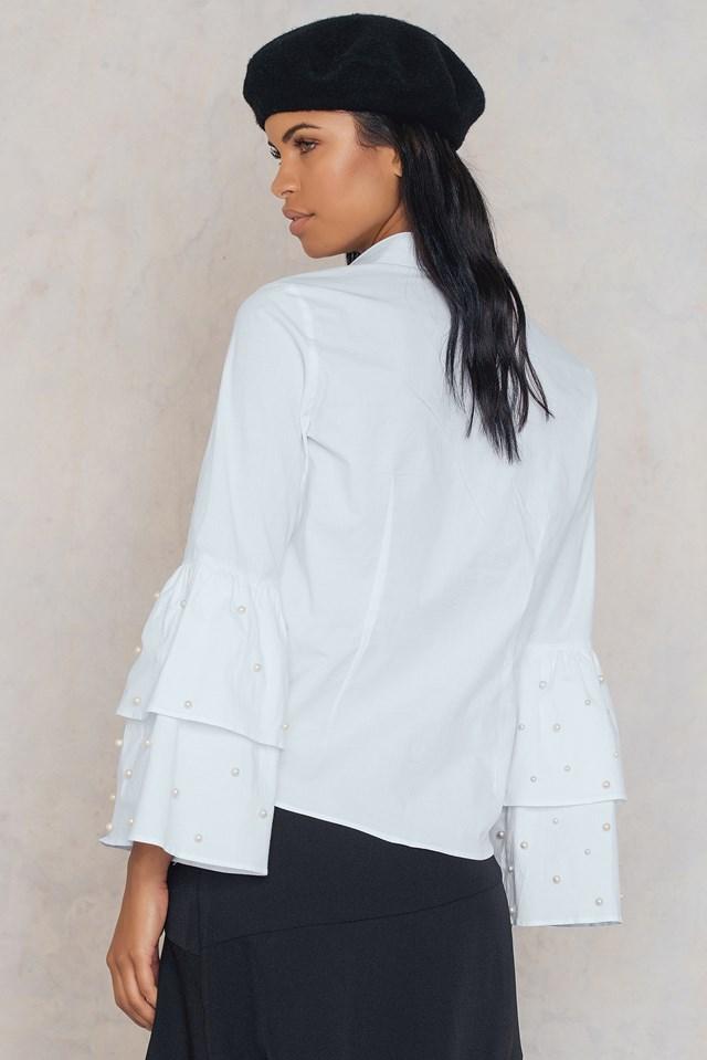 Trumpet Pearl Sleeve Shirt White