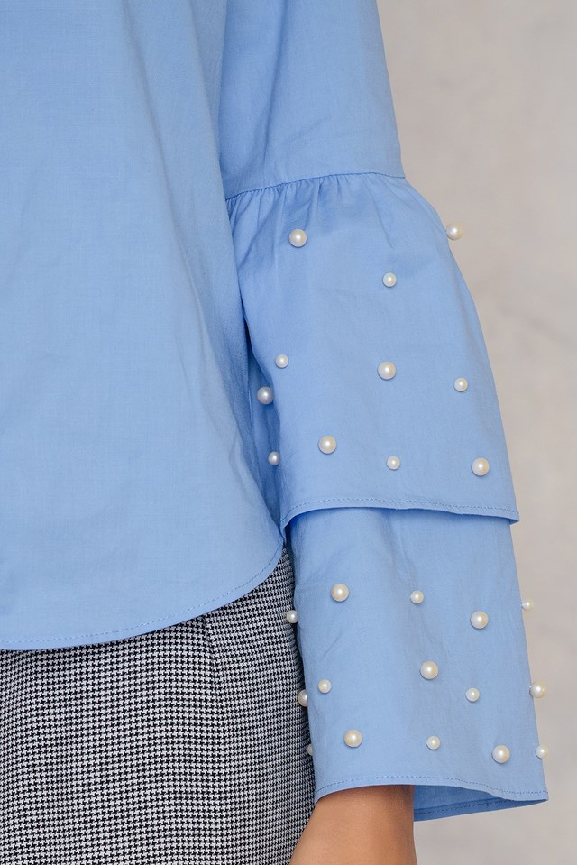 Trumpet Pearl Sleeve Shirt Blue
