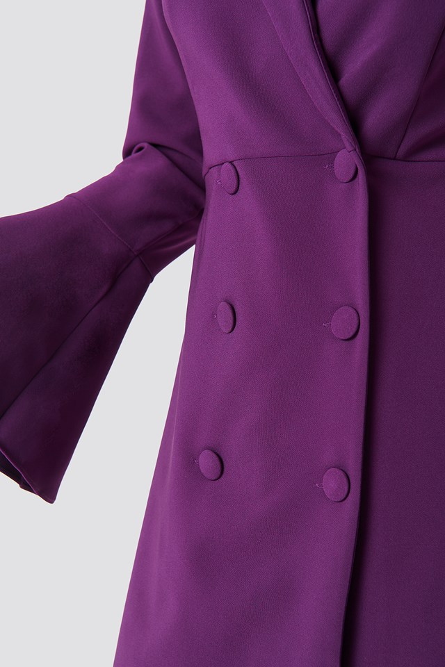 Trumpet Sleeve Blazer Dress Purple