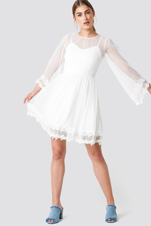 Trumpet Sleeve Lace Dress Ecru