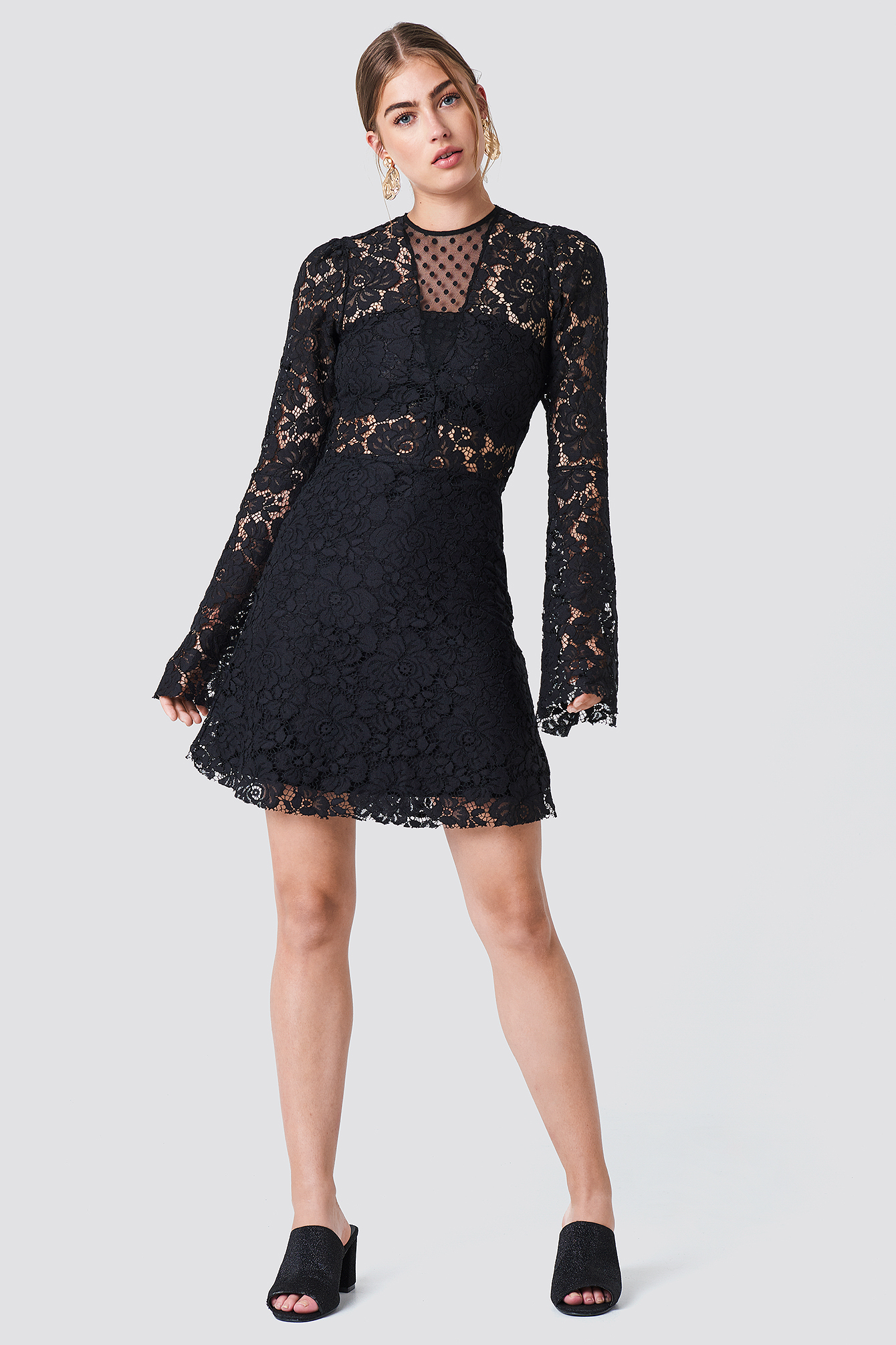 Trumpet Sleeve Lace Mini Dress NA-KD.COM