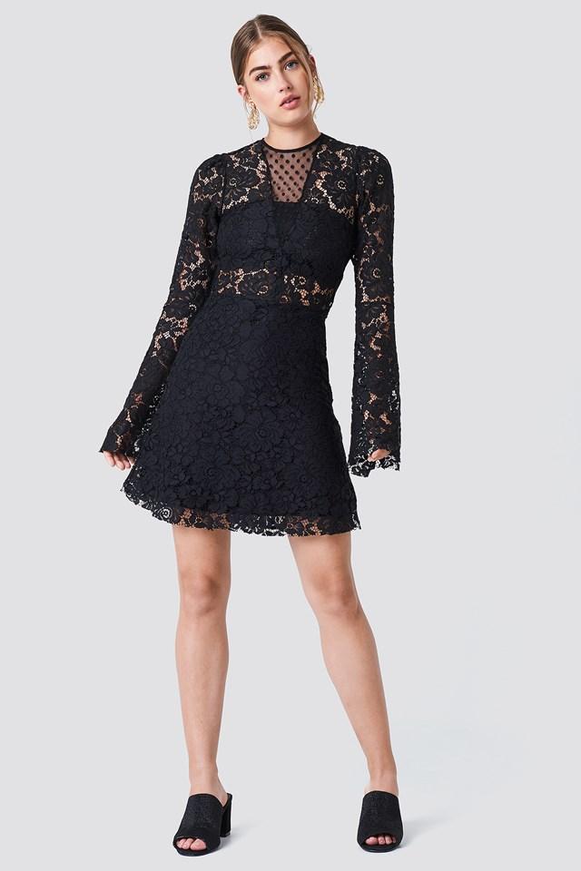 Trumpet Sleeve Lace Mini Dress Black