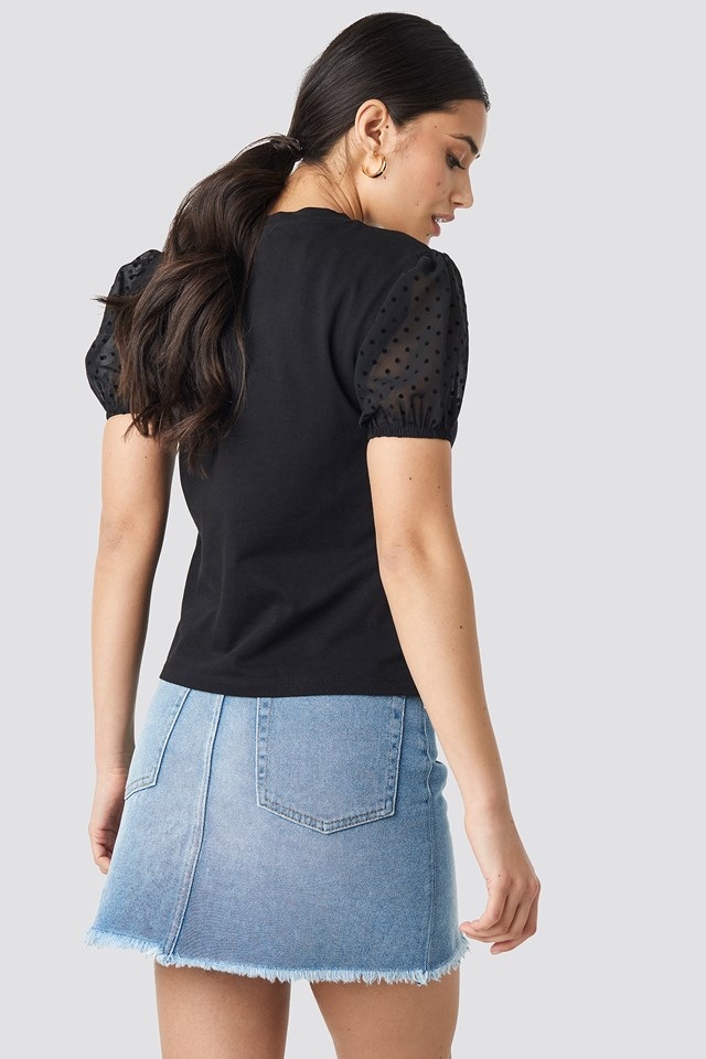 Tulle Detailed Knitted Blouse NA-KD.COM