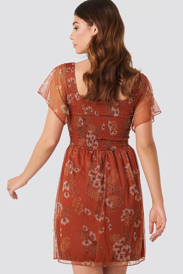 Tulle Detailed Midi Dress Burgundy