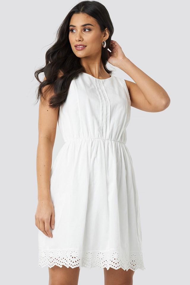 Tulum Brode Detail Dress Ecru