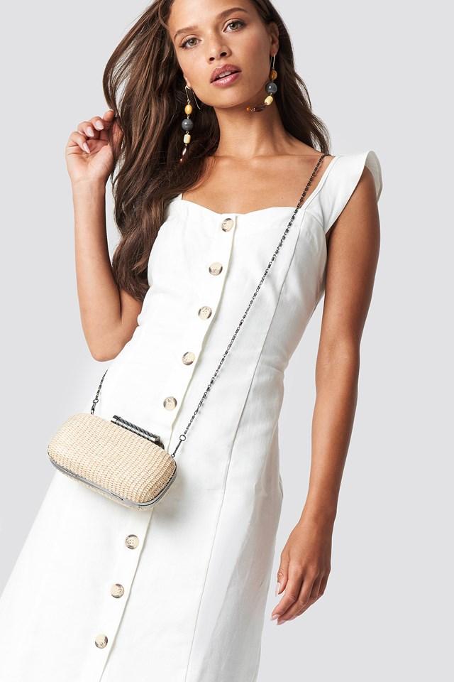 Tulum Button Detailed Midi Dress White