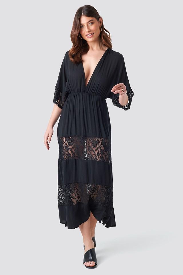 Tulum Lace Maxi Dress Black