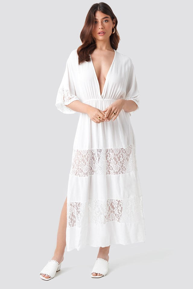 Tulum Lace Maxi Dress Ecru