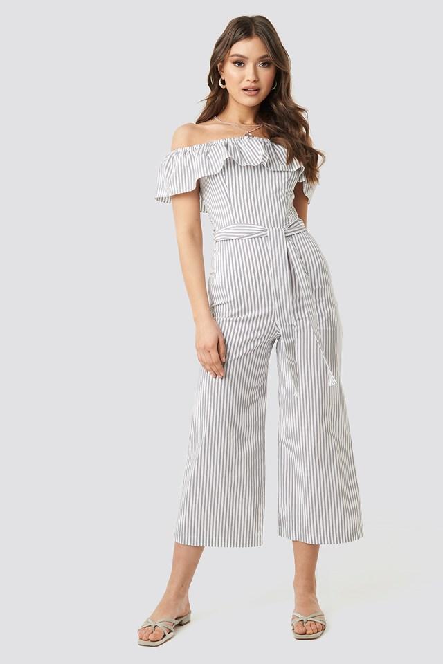 Tulum Striped Jumpsuit White