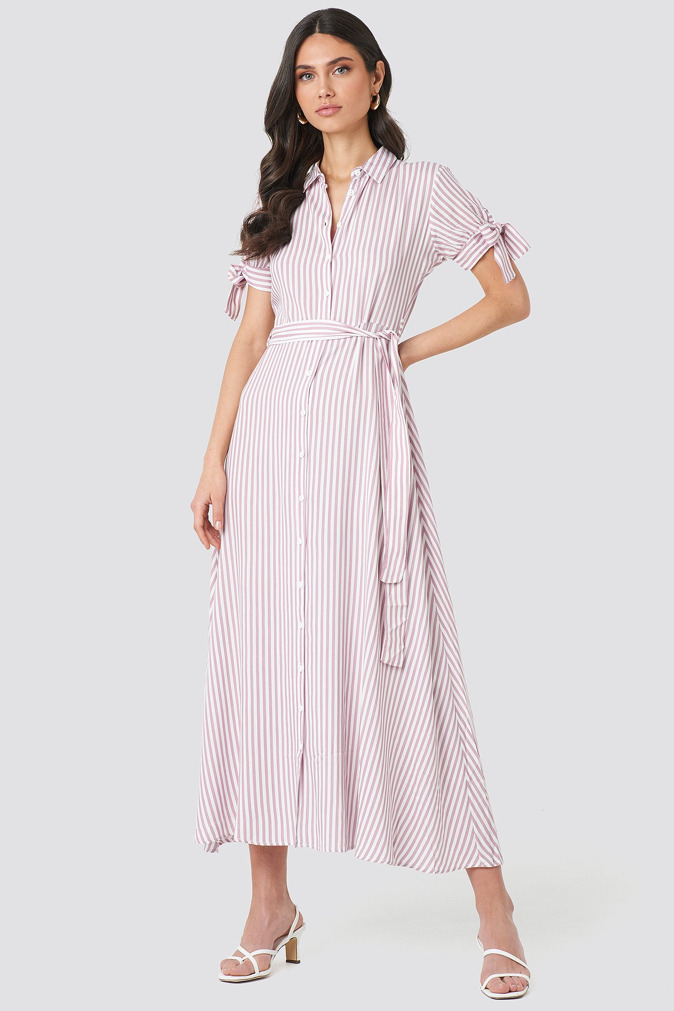 trendyol -  Tulum Striped Long Dress - Pink