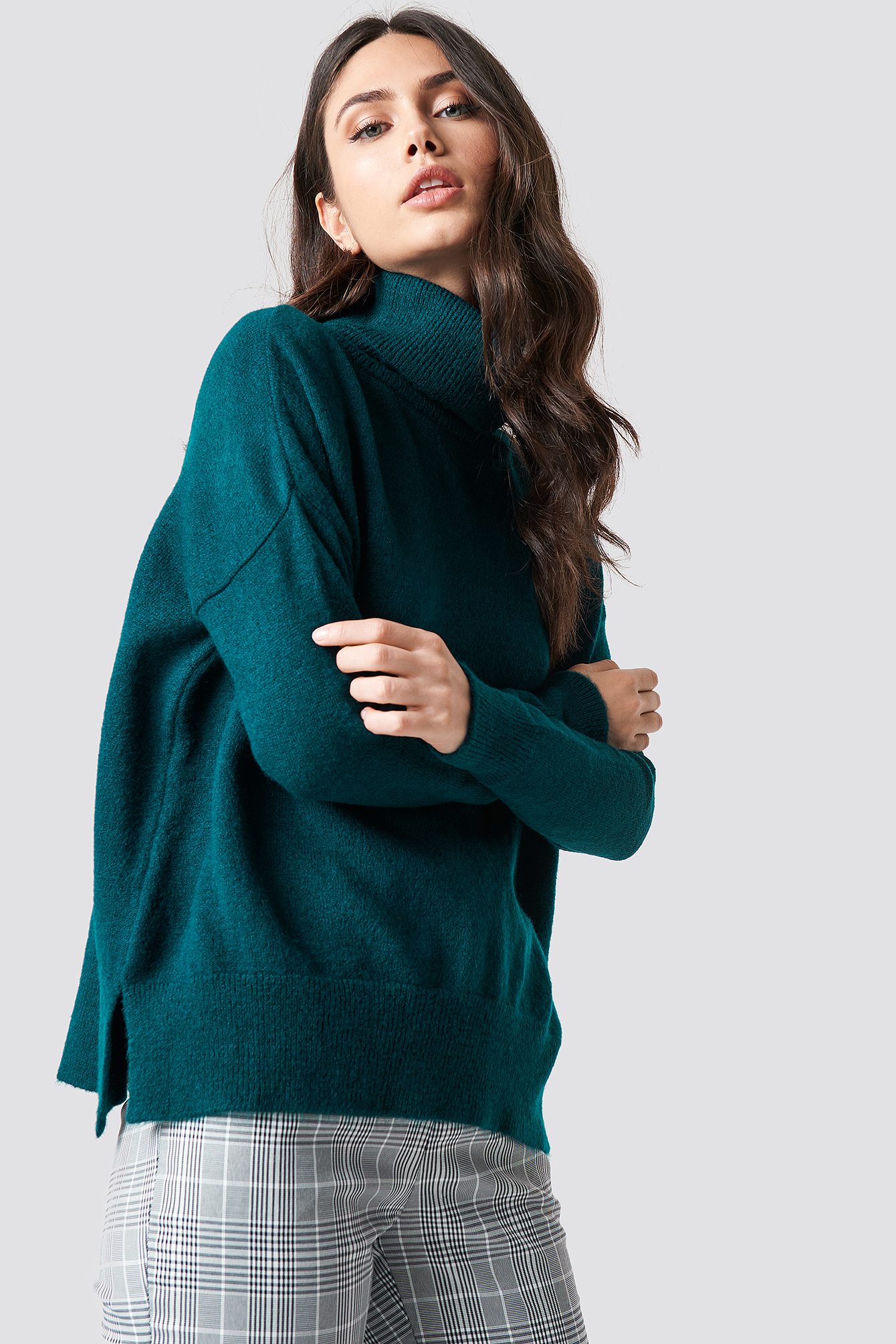 trendyol -  Turtle Neck Basic Sweater - Blue