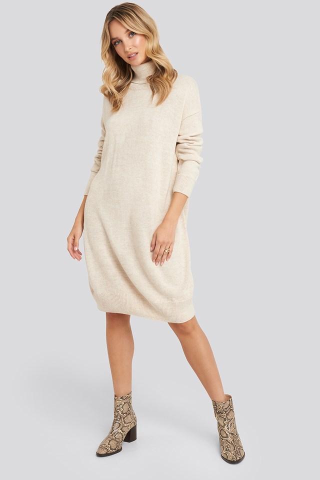 Turtleneck Knitted Dress Beige