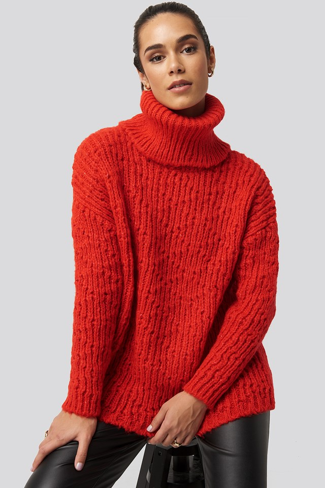 Turtleneck Knitted Sweater Red