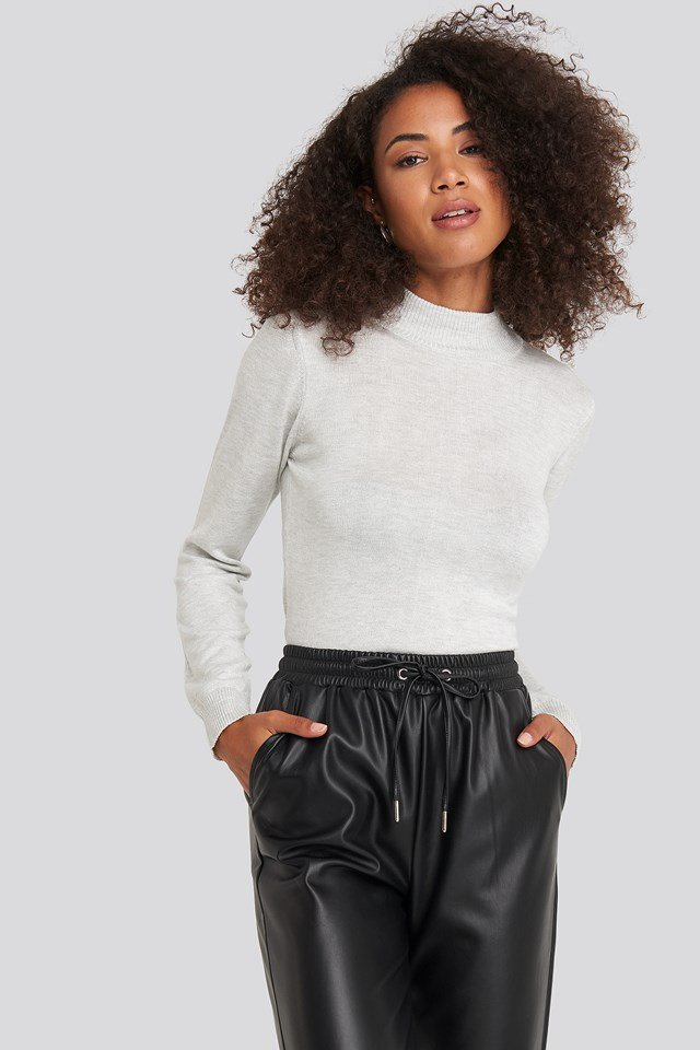 Turtleneck Knitted Top Gray