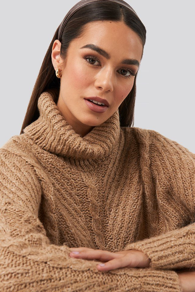 Turtleneck Long Knitted Sweater Camel